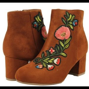 Shoes - Chestnut floral embroidered mid block heel ankle